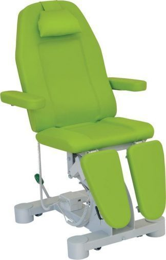 Electrical podiatry exam chair - 3 sections with armrests and wheels