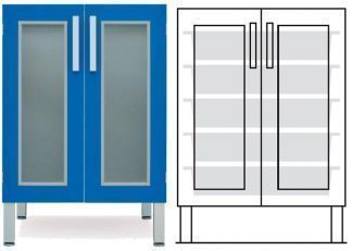 Floor cabinet - ISO - 2 glass doors and 5 baskets - Telescopic rail