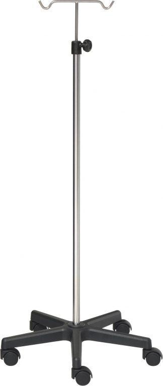IV-pole - 2 hooks - Chrome stand - Black base