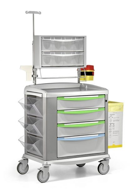 Medicine trolley – Equipped for medicating - Steel frame - 92 cm wide