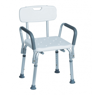 Shower seat with backrest and armrest