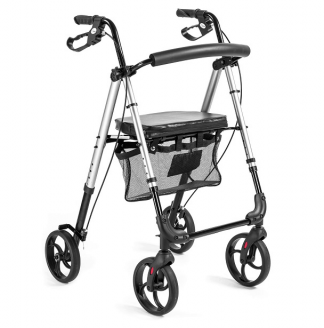 Walker made out of aluminium with 4 wheels - Adjustable sitting height