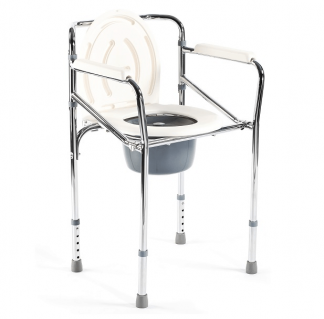 Foldable commode chair - Height adjustable - Chrome frame