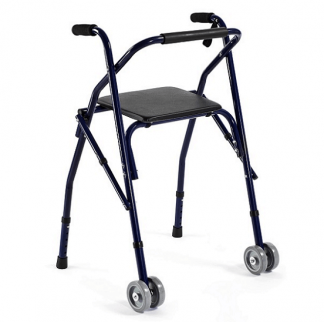 Walking frame made out of aluminium with 2 wheels