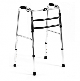 Foldable walking frame with side joint construction - Aluminium