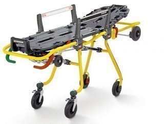 Self loading stretcher with adjustable heights