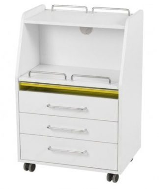 Trolley of white coated plywood with 3 drawers and 2 shelves
