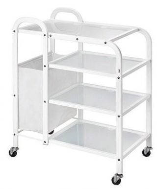 Trolley with white coated steel frame - 4 shelves and side basket